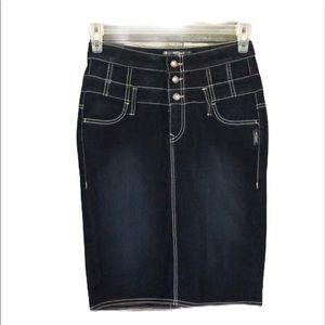 Silver Jeans Women's Pencil Button Front Jean Skir